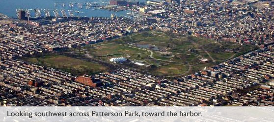aerial view of Patterson Park